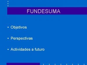 FUNDESUMA Objetivos Perspectivas Actividades a futuro INFORMACION Creada