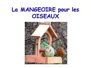 La MANGEOIRE pour les OISEAUX Javais une maison