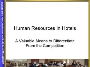 Department of Hotel Restaurant and Institutional Management Human