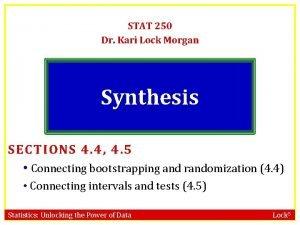 STAT 250 Dr Kari Lock Morgan Synthesis SECTIONS