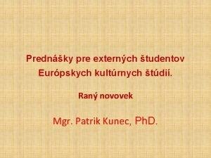 Prednky pre externch tudentov Eurpskych kultrnych tdi Ran