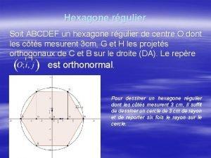 Hexagone rgulier Soit ABCDEF un hexagone rgulier de