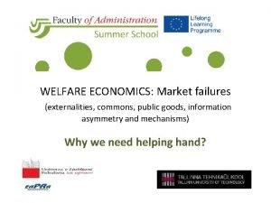 WELFARE ECONOMICS Market failures externalities commons public goods