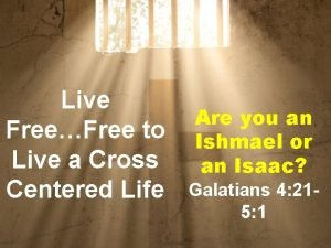 Live FreeFree to Live a Cross Centered Life