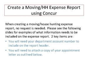 Create a MovingHH Expense Report using Concur When