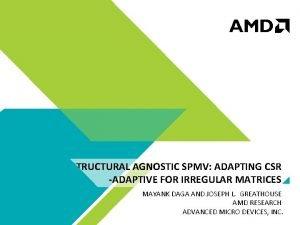 STRUCTURAL AGNOSTIC SPMV ADAPTING CSR ADAPTIVE FOR IRREGULAR