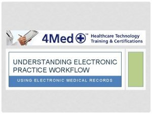 UNDERSTANDING ELECTRONIC PRACTICE WORKFLOW USING ELECTRONIC MEDICAL RECORDS