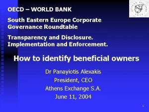 OECD WORLD BANK South Eastern Europe Corporate Governance