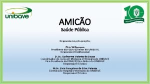 AMICO Sade Pblica Responsveis pelo projeto Elcio Willemann