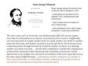 Prawo Energii Wasnych Prawo energii wasnych nerww Law