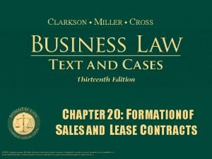 CLARKSON MILLER CROSS CHAPTER 20 FORMATION OF SALES