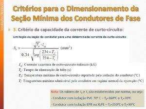 Instalaes Eltricas II Critrios para o Dimensionamento da