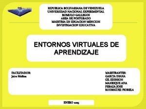 REPUBLICA BOLIVARIANA DE VENEZUELA UNIVERSIDAD NACIONAL EXPERIMENTAL ROMULO