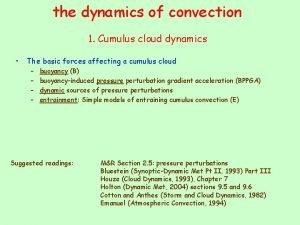 the dynamics of convection 1 Cumulus cloud dynamics