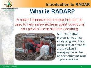 Introduction to RADAR What is RADAR A hazard