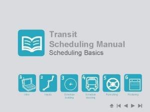 Transit Scheduling Manual Scheduling Basics Intro Inputs Schedule