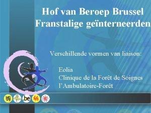 Hof van Beroep Brussel Franstalige genterneerden Verschillende vormen