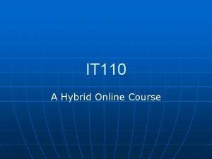 IT 110 A Hybrid Online Course Hybrid n