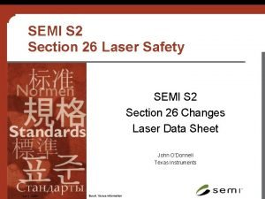 SEMI S 2 Section 26 Laser Safety SEMI