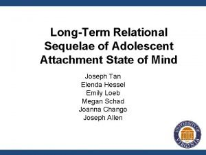 LongTerm Relational Sequelae of Adolescent Attachment State of