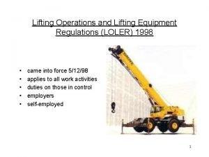 Lifting Operations and Lifting Equipment Regulations LOLER 1998