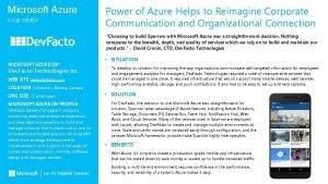 Microsoft Azure CASE STUDY Power of Azure Helps