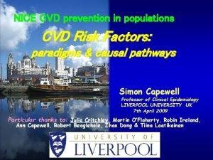 NICE CVD prevention in populations CVD Risk Factors
