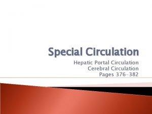 Special Circulation Hepatic Portal Circulation Cerebral Circulation Pages