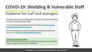 COVID19 Shielding Vulnerable Staff Guidance for staff and