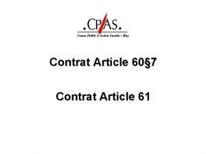 Contrat Article 60 7 Contrat Article 61 Article