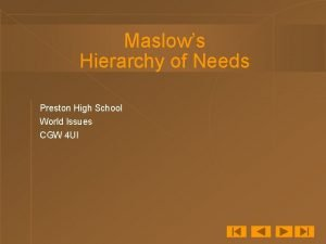 Maslows Hierarchy of Needs Preston High School World