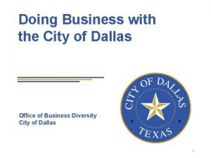 Doing Business with the City of Dallas Office