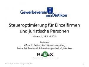 Steueroptimierung fr Einzelfirmen und juristische Personen Mittwoch 26