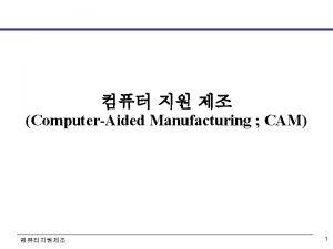ComputerAided Manufacturing CAM 1 Automatic Machines Automatic machines