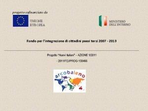 UNIONE EUROPEA Fondo per lintegrazione di cittadini paesi
