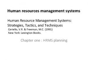 Human resources management systems Human Resource Management Systems