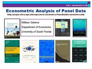 Part 1 Introduction 139 Econometric Analysis of Panel