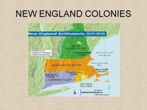 NEW ENGLAND COLONIES Massachusetts Plymouth 1620 Massachusetts Bay