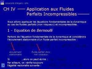 Universit dAngers LPA CH IV Application aux Fluides