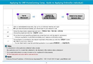 Applying for OKF Home Coming Camp Guide to