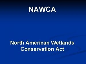 NAWCA North American Wetlands Conservation Act North American