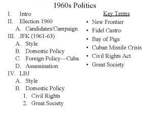 1960 s Politics I II Intro Election 1960