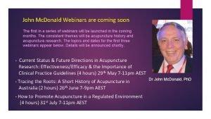 John Mc Donald Webinars are coming soon The