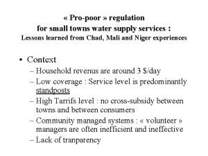 Propoor regulation for small towns water supply services