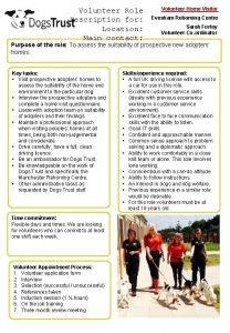 Volunteer Role Description for Location Main contact Volunteer