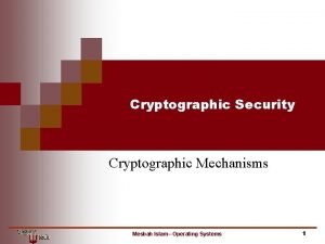 Cryptographic Security Cryptographic Mechanisms Mesbah Islam Operating Systems