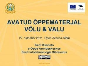 AVATUD PPEMATERJAL VLU VALU 27 oktoober 2011 Open