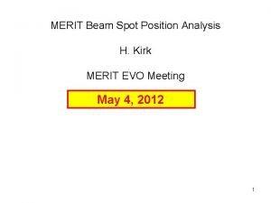 MERIT Beam Spot Position Analysis H Kirk MERIT