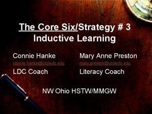 The Core SixStrategy 3 Inductive Learning Connie Hanke
