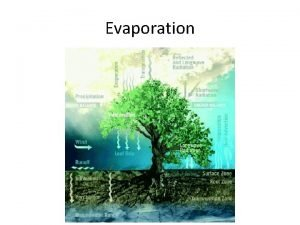 Evaporation Evaporation the process in which water changes